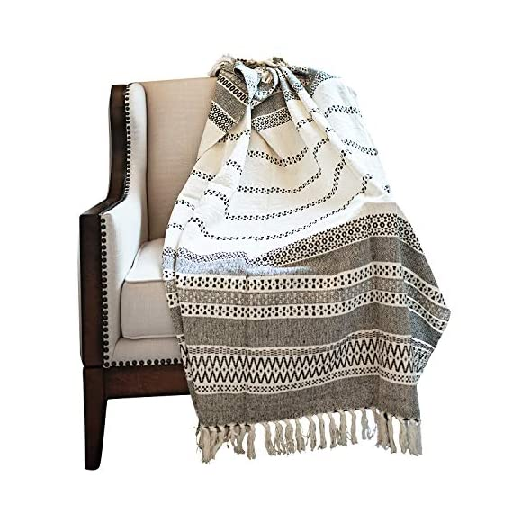 MOTINI 100% Cotton Decorative Blankets Cozy Grey and White Throw Blankets Hand-Knitted with Tassel for Sofa, Couch, 60 x 50 inch - A subtle diamond motif gives this option a pop of pattern while it's fringe trim gives a timeless design that blends effortlessly into any ensemble Fits the rustic, vintage, or distressed look - This cozy throw blanket adds a classic touch and exceptional texture & style to any home to any living, dining, bedroom, home office or foyer with its timeless design and practical size. This beautiful high-quality 100% cotton decorative blanket will last for years to come. It is lightweight making it great for summer and easy transportation between rooms. It measures 60 x 50 inches. - blankets-throws, bedroom-sheets-comforters, bedroom - 51RbgGTJMYL. SS570  -