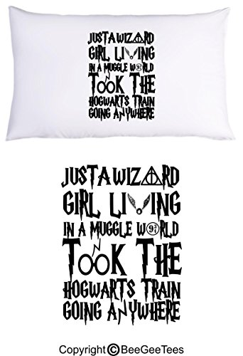 BeeGeeTees Just A Wizard Girl Living in A Muggle World Funny Pillowcase (1 Queen Pillowcase)