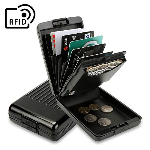 ANSSOW RFID Blocking Card Holder Case for Men and Women, Safe and Secure Protection for Travel or Business, Includes Slots for Credit Cards, Coins and Cash Slim Aluminum Metal Wallet
