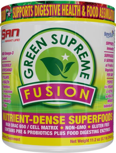 SAN Nutrition Green Supreme Fusion Powdered Greens Supplement with Superfoods, 30 Servings,11.2 oz.