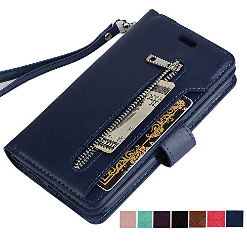 ZCDAYE iPhone Xs Max Zipper Wallet Case,Premium [Magnetic Closure] Multi-Functional Handbag Stand Function Folio PU Leather Flip Cover Inner Soft TPU Case for iPhone Xs Max - Blue