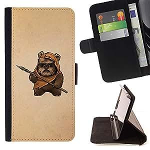 Momo Phone Case / Flip Funda de Cuero Case Cover - Bea Caveman Arte Daga Marrón Pintura Divertido - Samsung Galaxy S5 Mini, SM-G800
