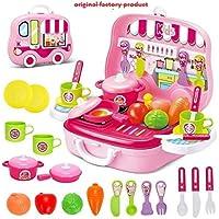 KIDSZONE Pretend Play Carry Along Kitchen Food Play Set for Girls (26 Pcs w/o Stickers)