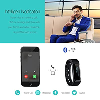 Bietia Wireless Fitness Tracker Smart Activity Wristband Watch Bluetooth Sports Bracelet with Pedometer Sleep Monitoring Calories Track for Daily Activity and Sleep, Compatible with Android and IOS