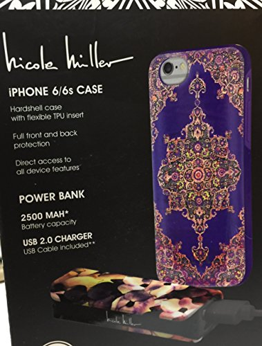 nicole-miller-iphone-6-6s-designer-case-and-power-bank-and-usb-cord