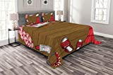 Lunarable Girls Bedspread Set King Size, Female Fashion Clothes Accessories on Wood Planks Classy Beauty Graphic, Decorative Quilted 3 Piece Coverlet Set with 2 Pillow Shams, Brown Dark Coral Pink