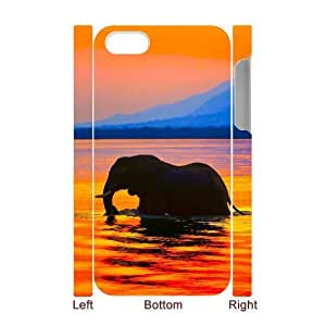 Custom Cover Case with Hard Shell Protection for Iphone 4,4S 3D case with Bathing Elephant lxa845851
