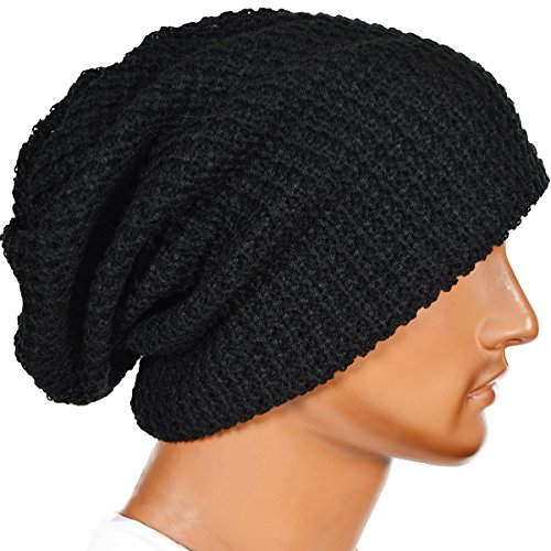 Black Knit Beanie Cap Hat - FORBUSITE Mens Slouchy Long Black Beanie Knit Cap For Summer Winter