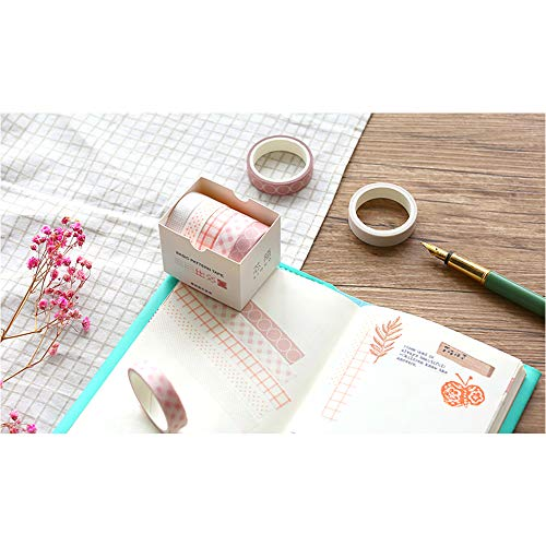 Collection Monthly - 5 Rolls Basic Collection Decoration Washi Tape Set, EnYan 10mm Wide Japanese Masking Decorative Tapes for Bullet Journal Planners DIY Crafts and Arts Scrapbooking Adhesive
