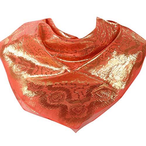 (hositor Hat for Women, Shimmer Sparkle Gold Glitters Plain Chiffon Muslim Hijab Scarf Shawl Head)