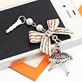 Tiny Chou Ballet Dancing Girl with Beige Bow Girly Pendant Tassel 3.5 mm Cell Phone Charm Anti Dust Plug Earphone Cap Headphone Jack Accessory for iphone 6 Plus,iPhone 6,ipods,ipads,Samsung Galaxy S6