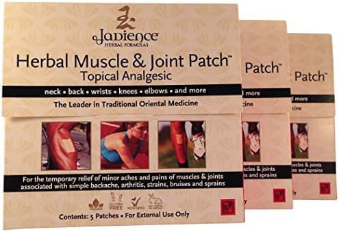 3 Pack Jadience Muscle & Joint Pain Relief Patch: 5 per Box | Dit Da Jow | Relieves Sore Neck, Back, Shoulders, Arms, Hands, Wrists, Hips, Legs, Knees, Feet | 100% Natural Analgesic | Hypoallergenic
