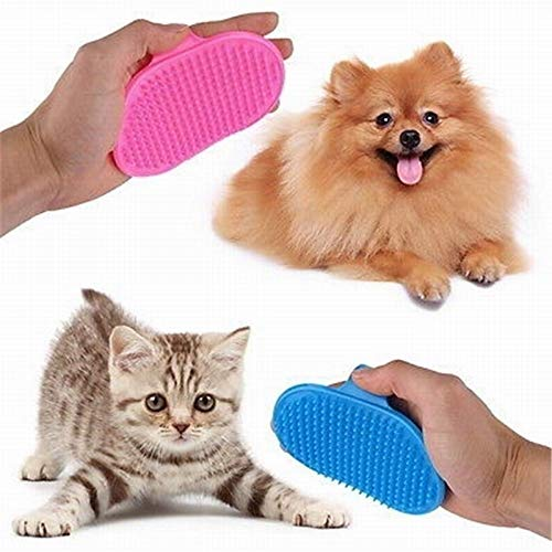 Glumes Pet Bath & Massage Brush for Shampooing and Massaging Dogs and Cats with Short or Long Hair - Soft Rubber Bristles Gently Removes Loose & Shed Fur from Your Pet's Coat (Pink)