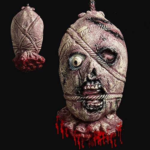 Hootech Halloween Decorations Severed Head Cut off Corpse Head Prop Hanging Bloody Gory Latex Zombie Party (Latex Prop)