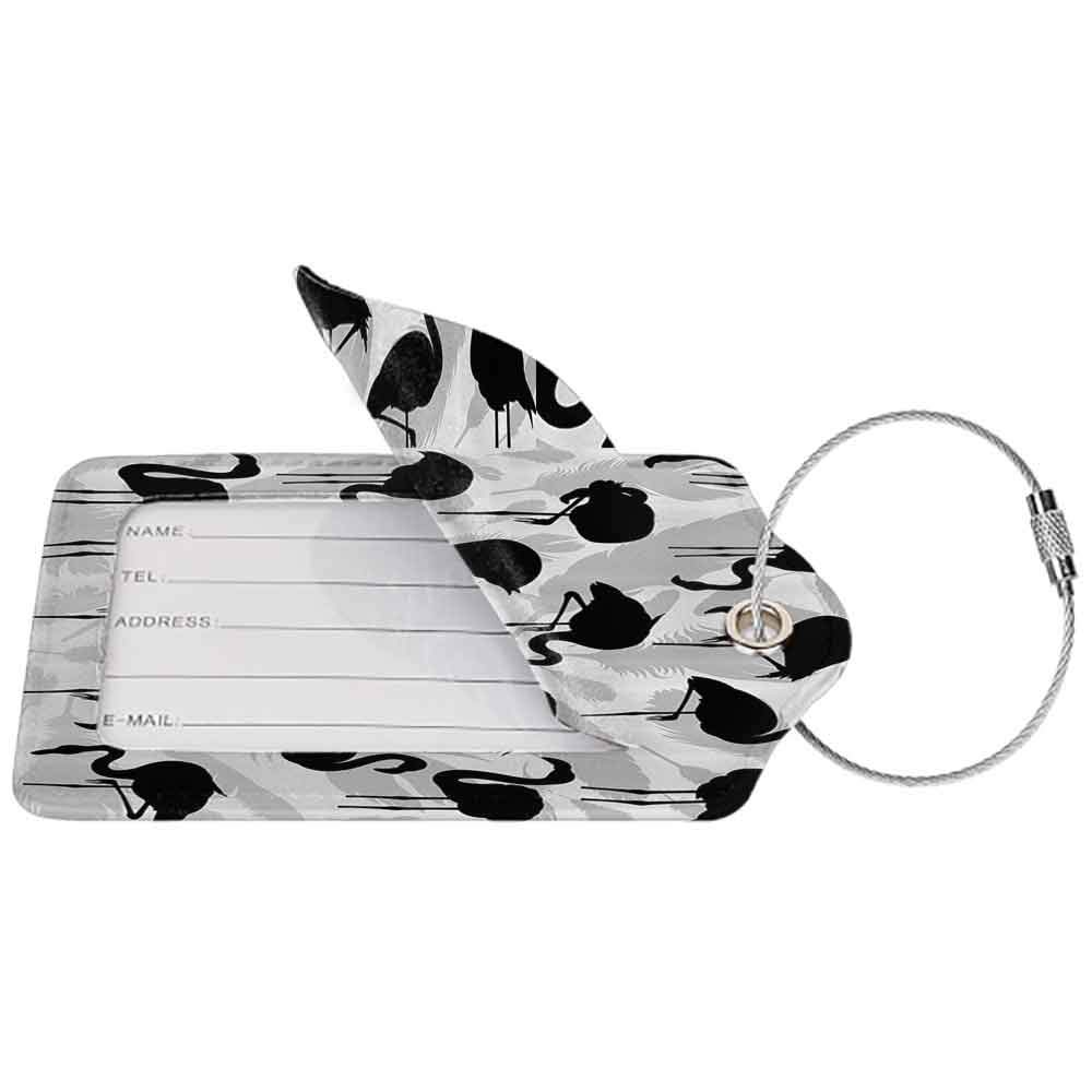 Multicolor luggage tag Flamingos Decor Collection Flamingo Bird Silhouettes and Feathers Illustration Design Hanging on the suitcase Black and Grey W2.7 x L4.6
