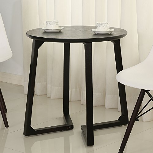 Round Reception Table/Accent table/End Table for Living Room,Office,waiting room,Conference and Meeting Room Wood,Small, Black by Simhoo