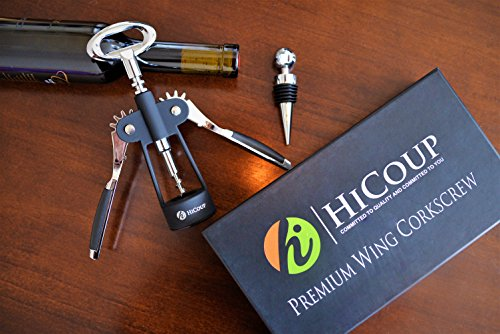 Wing Corkscrew Wine Opener by HiCoup - All-in-one Wine Corkscrew and Bottle Opener With Bonus Wine Stopper in a Deluxe Presentation Box by HiCoup Kitchenware (Image #7)
