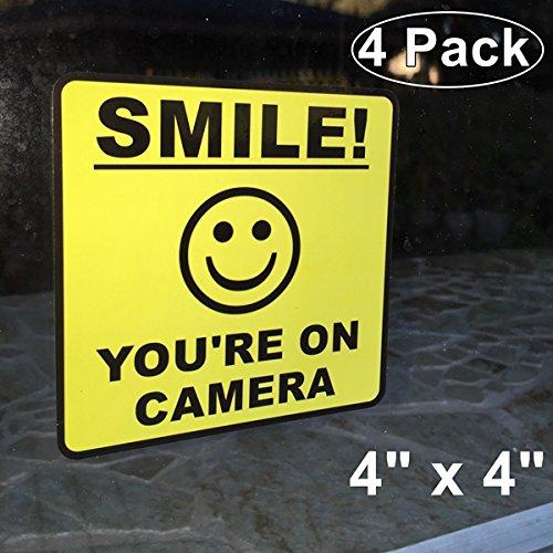 "Outdoor/Indoor (4 Pack) 4"" wide X 4"" high Home Business SMILE YOU'RE ON CAMERA Yellow Window Door Warning Security Alert Sticker Decals **Back Self Adhesive Vinyl**"