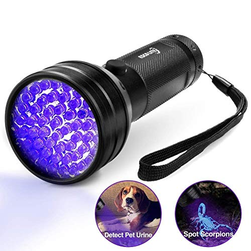 Black Light UV Flashlight, Escolite UV Lights 51 LED Ultraviolet Blacklight Flashlight Pet Urine Detector, Matching with Pet Odor Eliminator