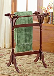 Traditional Wooden Quilt Rack, Brown