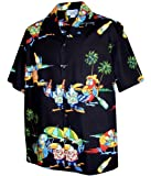 Pacific Legend Parrots Leis Ukes and Beer Parrot Head Hawaiian Shirt (XL, Black)