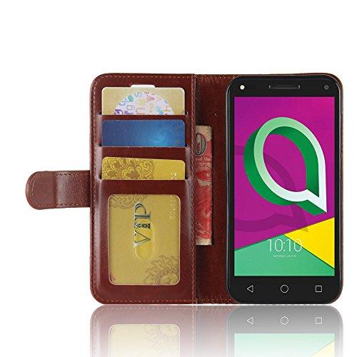 Alcatel U5 3G Funda Faux Cuero Billetera Funda para Alcatel U5 3G con Stand Función(Rojo) Marrón