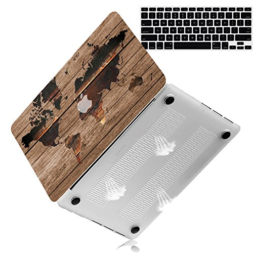 Bizcustom Pattern Hard Case for MacBook Air 13 No-Retina Model A1369/A1466 2010-2017 Year Rubberized Personalized Printing Cover (13 MacBook Air No-Retina, A1369/A1466, World Map Wood)