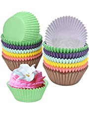 AvoDovA 300PCS Colorful Cupcake Paper, Baking Cases, Muffin Cases, Cupcake Baking Cases Muffin Cases Paper Wrappers Rainbow Baking Cups, Cupcake Wrappers, Cupcake Liners for Wedding Birthday Party