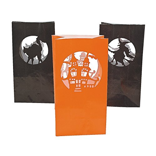 Fun Express Halloween Silhouette Luminary Paper Bags | 3-Pack (36 Count) | Great for Party Decorations ()