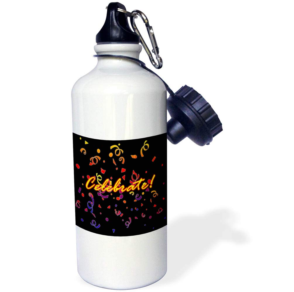 3dRose BlakCircleGirl - Occasions - Celebrate in Black - Perfect fun design in black for birthdays announcements, and more - 21 oz Sports Water Bottle (wb_286893_1)