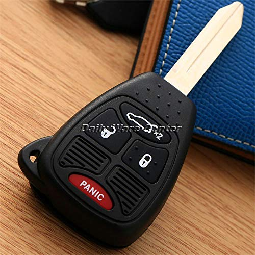 Transport-Accessories - 4 BTN Car Entry Remote Head Key Shell Fob Case W/Transponder Chip Uncut Blade for Dodge Chrysler JEEP Commander Grand Cherokee