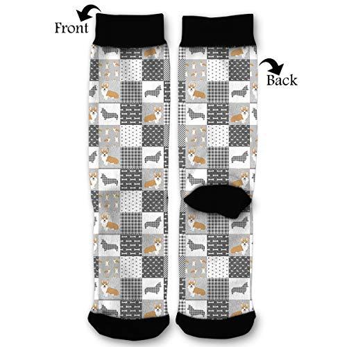 EKUIOP Socks Grey Dog Buffalo Plaid Funny Fashion Novelty Advanced Moisture Wicking Sock for Man -