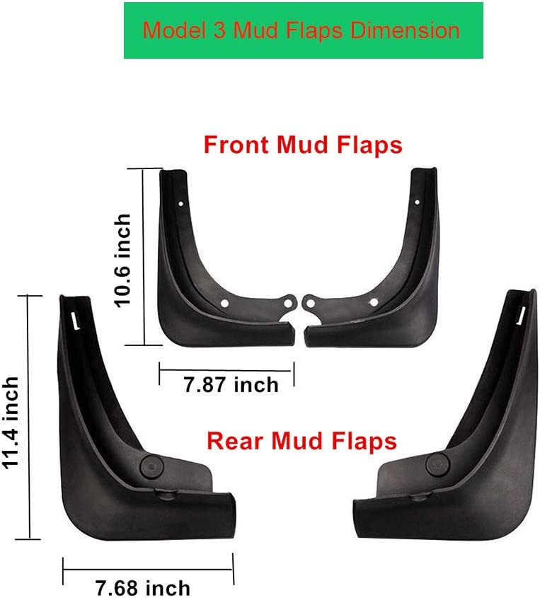 Nansure Model X Mud Flaps with Fixing Screw Front Rear Full Protection Splash Guards Fender Mudguard for Tesla Model X,4 Pieces.