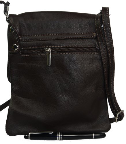 a Cross Branded Bag Handbag Storage Soft Hand Medium Small or Body Messenger Includes Small Made Protective Italian Bag Leather Brown and Shoulder Dark ax8SZffn