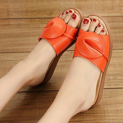 costate fine piatto la grandi di 40 dell'estate fresco scarpe arancione femmina manzo fankou mom La estate in cantieri e usura sandali trascinare pantofole t5zCZwxqx