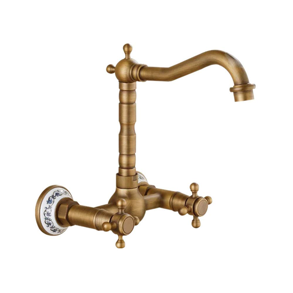 D PajCzh Sink Bathroom Sink Taps European Retro Wall Faucet Double Handle Spiral Basin Faucet Copper Hot And Cold Mixing Faucet, E