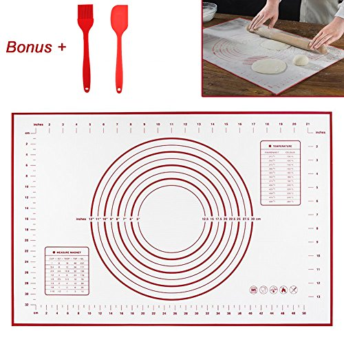 INCHANT Extra Large Silicone Pastry Mat With Measurements, 23.6 x 15.8 Inches, Full Sticks To Countertop For Rolling Dough, Conversion of Information Included, with Silicone Brush & Silicone - You How Scratches Glasses Do Of Out Get
