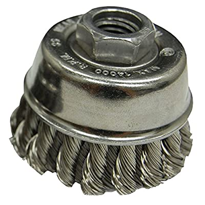 "Zenith Industries ZN306016 Stainless Steel Twist Knot Cup Brush, 2-3/4"" x .020"" x 5/8-11"""