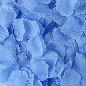 BESKIT 3000 Pieces Silk Rose Petals Artificial Flower Petals for Wedding Confetti Flower Girl Bridal Shower Hotel Home Party Valentine Day Flower Decoration (Azure) 112