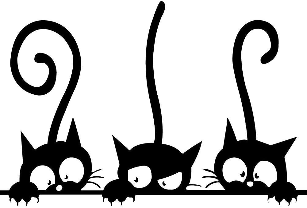 """Three Cat Pattern Cartoon DIY Wall Stickers, Artwork Animal Decal Removable Wallstickers Art Decal for Baby Kids Children Nursery Bedroom Living Room - Funny & Lovely (12"""" x 8"""")"""