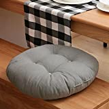 MEMORECOOL LIGHT UP YOUR HOME Pure Color Cotton Linen Round Floor Pillow Cushion, Japanese Futon Seat Cushion Thicken Chair Wave Window Pad 18 Inch, Grey Set of 2