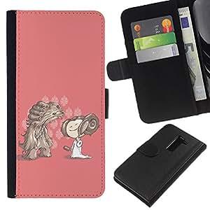 KLONGSHOP // Tirón de la caja Cartera de cuero con ranuras para tarjetas - Personaje de dibujos animados Dibujo Chica rosado Perro - LG G2 D800 //