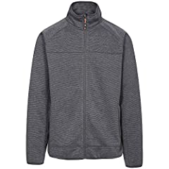 Mens patterned bonded fleece. Coverstitch detail. 2 zip pockets. Stretch binding at cuffs and hem. 100% polyester.