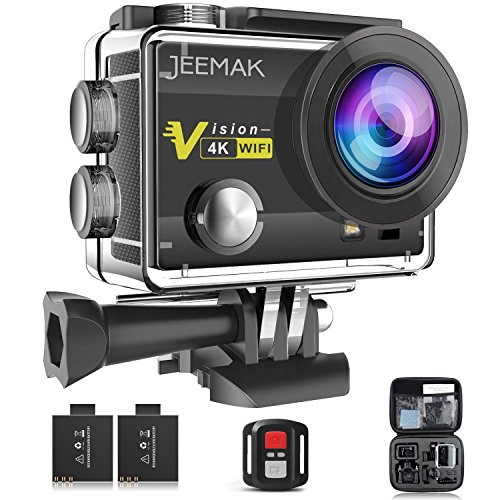 Action Camera,JEEMAK 4K Sport Cam 16MP WiFi Waterproof Camera 170° Ultra Wide Angle Len with SONY Sensor,Remote Control Dual Batteries and Portable Package and Full Accessories Compatible With GoPro