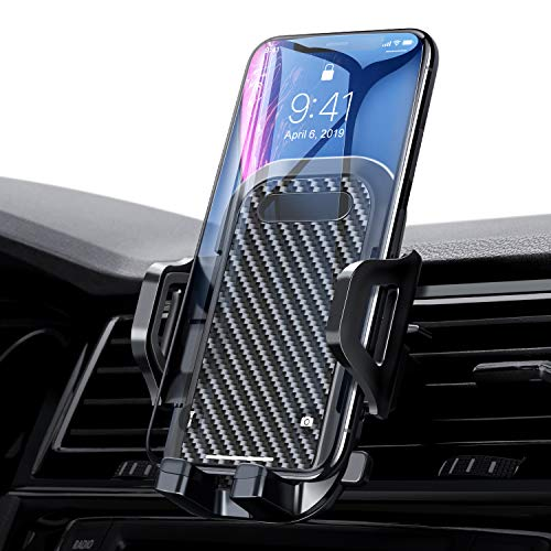 VANMASS Car Phone Holder, Adjustable Cell Phone Mount, Universal Air Vent Cradle with One Button Release, Sturdy 2 Level Clip, Carbon Fiber Backrest & Protection, Compatible 3.5-6.5 Inches Phone