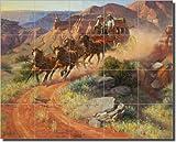 "Western Stagecoach Ceramic Tile Mural Backsplash 21.25"" x 17"" - A Quick Prayer and a Long Curve by Jack Sorenson - Kitchen Shower Decor"