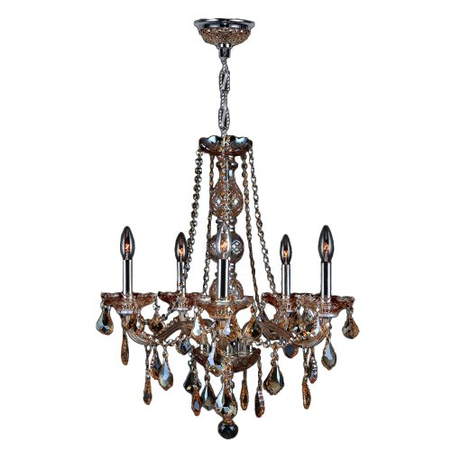 Worldwide Lighting W83104C21-AM Provence Collection 5 Light with Amber Crystal Chandelier, Chrome Finish