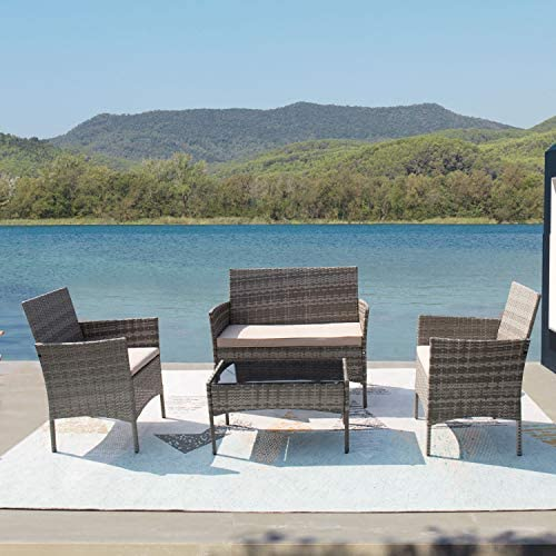 Furniwell Patio Outdoor Furniture Set 4 Pieces Porch Wicker Chairs Sets Rattan Balcony Sofa Conversation Set