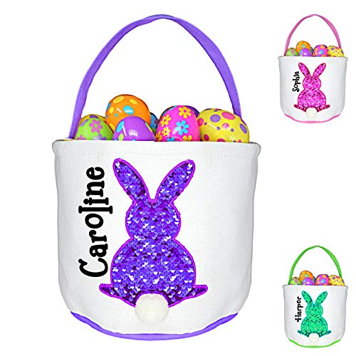 Personalized Purple Easter Basket with Reversible Sequins Bunny Rabbit with Fuzzy Tail Custom Egg Hunt Tote Bag - Your Choice of Free Name ()