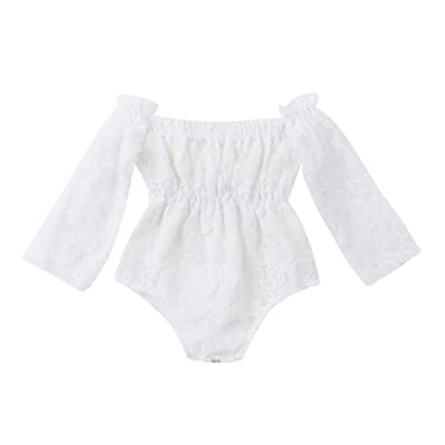 Sunsee Baby Girls Cute Lace Print Off Shoulder Princess Romper